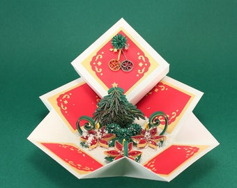 Christmas Card Box - Quilling Pop up Card - 3D Greeting Card - Card-in-box - Uniquie Paper Quilling Card -  Exploding Box Card