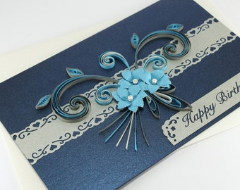 30th Birthday Card Happy Paper Quilling Floral Greeting