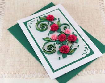 Handmade quilling birthday card handmade paper greeting card etsy mom birthday card handmade quilling greeting card mum bday card to her handmade paper quilling with red quilled roses m4hsunfo