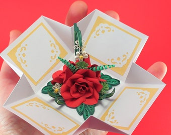 3d Handmade Love Card Quilling Card Box Pop Up Valentine Etsy