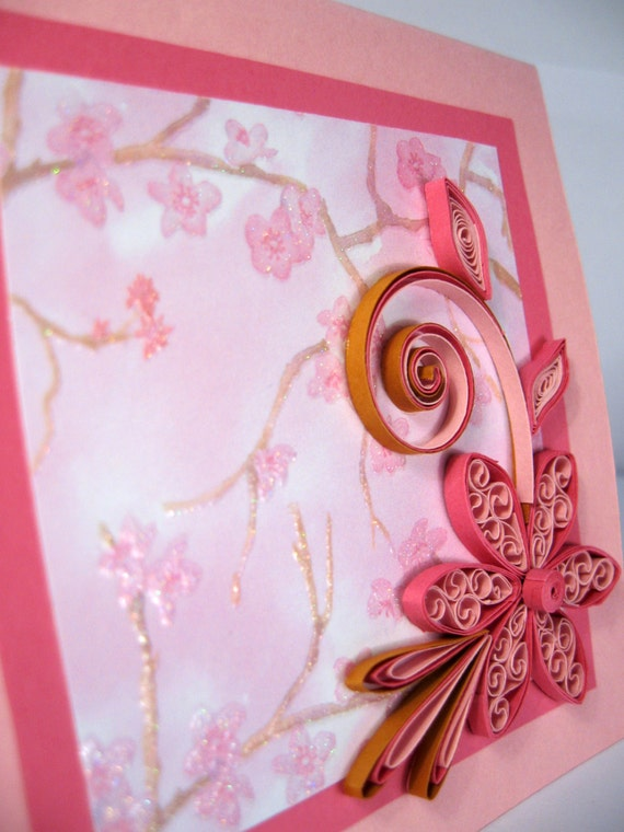 Quilled mothers day card handmade paper quilling card etsy quilled mothers day card handmade paper quilling card beautiful mom girlfriend sister birthday card pink quilled flower m4hsunfo