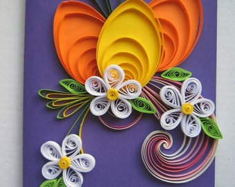 Handmade Easter Greeting Card - Colorful Quilling Card - Easter Card - Holiday Card with Quilling Egg, Flowers for family friend Co-worker