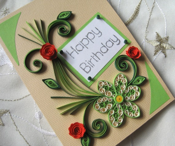 Happy Birthday Card Handmade Quilling Card Red Roses Etsy