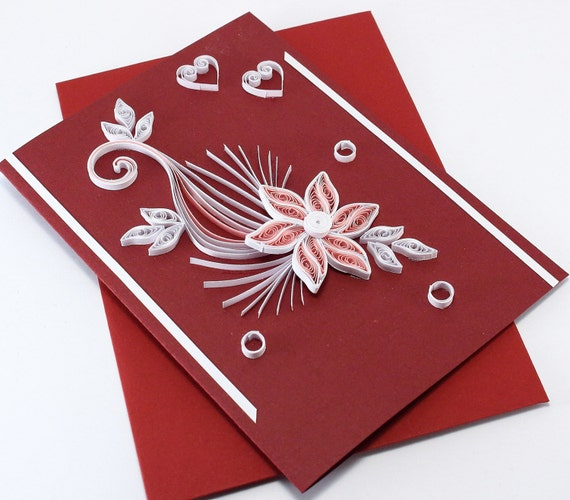 Quilling Valentine S Day Card For Her Girlfriend Darling Etsy