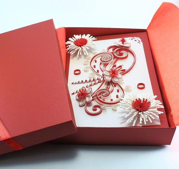 Handmade Quilling Card For Valentine Day Birthday Wedding Etsy