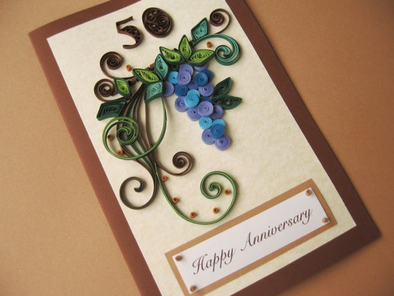 50th Birthday Card For Husband Dad Handmade Paper Quilling