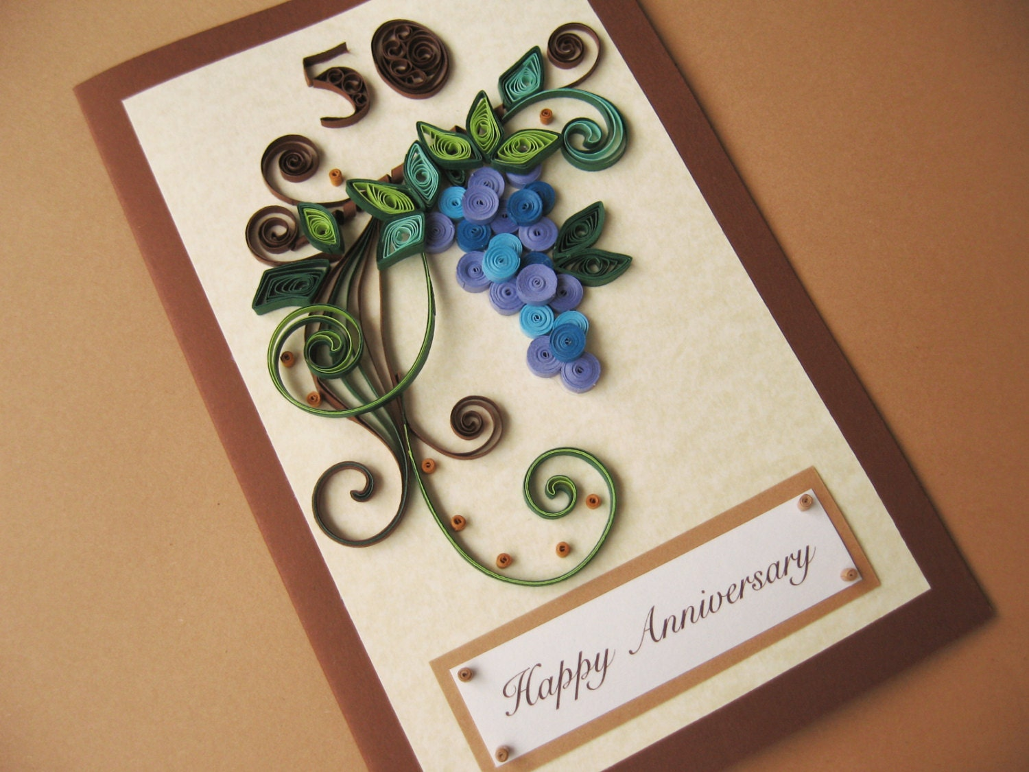 50th Birthday Card For Husband Dad Handmade Paper Quilling Etsy