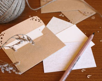 25 Mini Envelopes with notecards - Rustic Wedding Envelopes - Kraft Paper Envelopes - tiny brown envelopes - thank you gift card envelopes