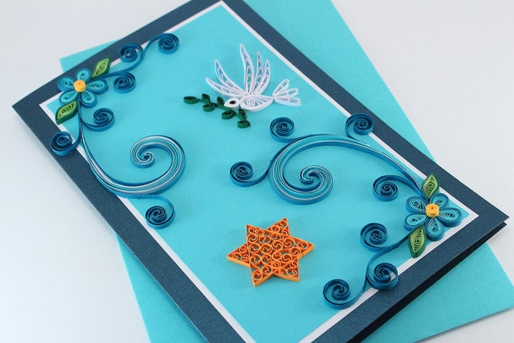 Handmade passover greeting card paper quilling card jewish etsy image 0 m4hsunfo