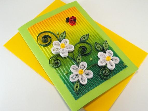 Quilling Geburtstag Karte Weiss Quilling Blumen Schone Etsy