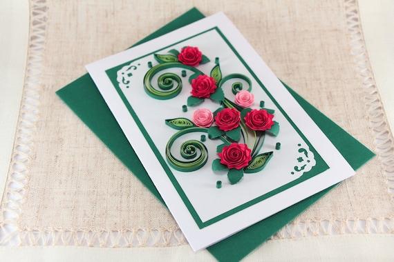 Mom Birthday Card Handmade Quilling Greeting Card Mum Bday Etsy