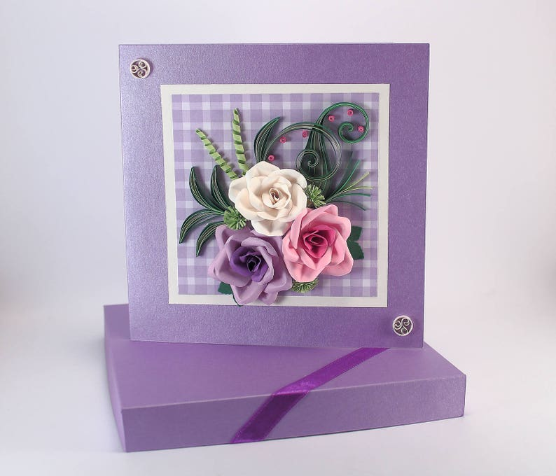 Purple Birthday Card Roses Birthday Card for Her Girlfriend Wife Mom Floral Birthday Card Unique Greeting Card Quilling Birthday card