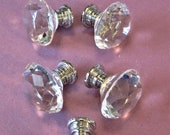 Set of 5 New Glass Shiny Chrome 1 1 4 quot Wide Furniture Clock Case Knobs with Screws for your Furniture Projects and Etc