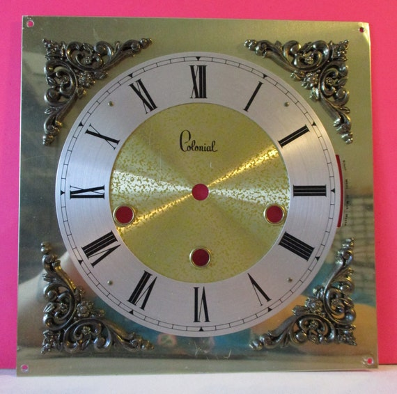 Vintage Ornate Colonial Brand Shiny Thick Aluminum Clock Dial for your Clock Projects - Art Stk# 140