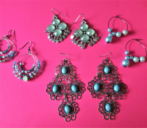 4 Pairs of Vintage Hand Made Pierced Earrings