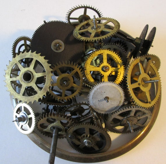 """32 Antique Clock Parts Brass and Steel With 5 1/2"""" Brass Clock Bezel for your Clock Projects - Steampunk Art"""