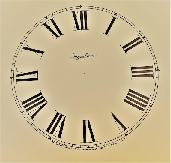 """4 3/4"""" Vintage Heavy Paper Ingraham Clock Co. Tan Colored Dial for your Clock Projects and Etc. Stk#D6"""