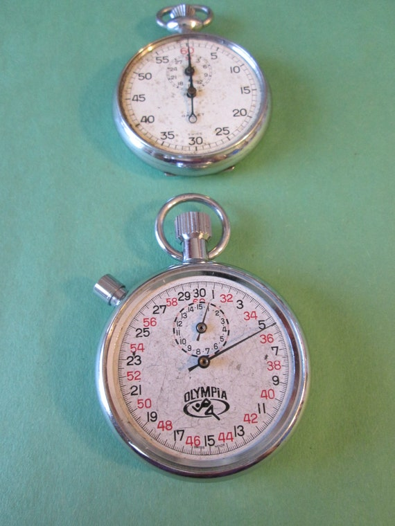 2 Partial Vintage Pocket Stop Watches for Repair, Parts, Steampunk Art and Etc...