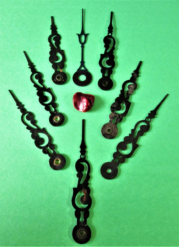 8 Old Black Painted Thick Steel Fancy Clock Hands for your Clock Projects - Jewelry Making - Crafts Stk# 209