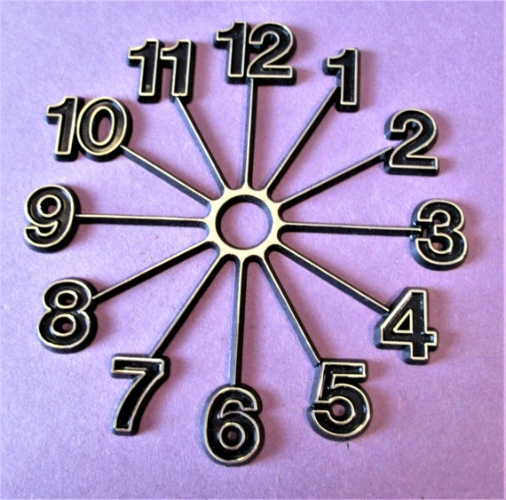 """1 Large 6 1/2"""" Thick Plastic Clock Dial Press On for your Clock Projects, Scrap Booking, Steampunk Art Stock#66"""