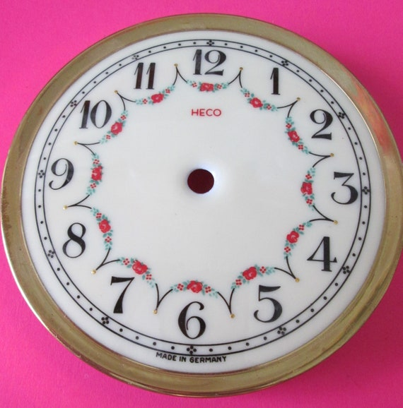 """Vintage 4"""" German Made Heco Porcelain Anniversary Clock Dial for your Clock Projects , Steampunk Art and Etc...Stk#631"""