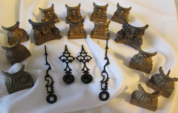 14 Assorted Original Antique Mantle Cast Metal Clock Feet & 2 Pairs of Steel Clock Hands for your Clock Projects - Steampunk Art - Metalwork