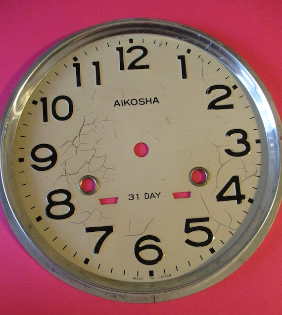 "8"" Japanese Aikosha 31 Day Pressed Aluminum Clock Dial for your Clock Projects - Art - Stk# 780"