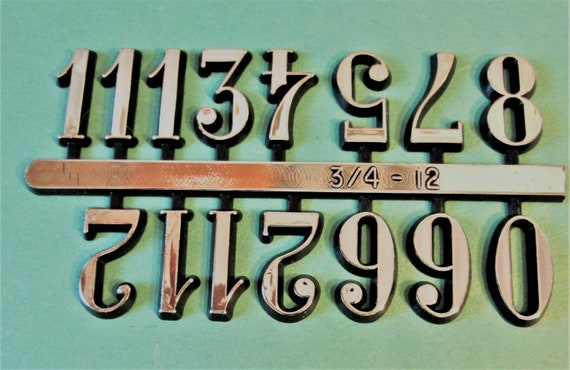 """1 Set of 3/4"""" Shiny Gold on Black Backround Plastic Numbers for your Clock Projects, Scrap Booking, Steampunk Art Stock#13"""