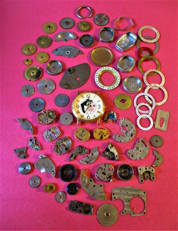 68 Piece Lot Of Assorted Brass and Steel Watch Parts and Pieces for your Watch Projects - Steampunk Art.Stk# W32