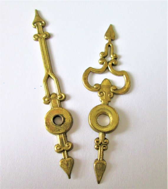 1 Pair of Old Fancy Solid Pressed Brass Clock Hands for your Clock Projects - Jewelry Making - Steampunk Art and Etc..Stk#776