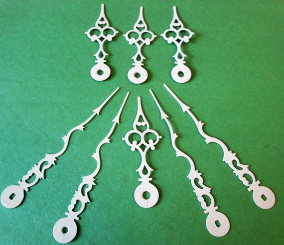 4 Pairs of Large White Painted Brass Serpentine Design Clock Hands for making Christmas Ornaments, Jewelry, Steampunk Art