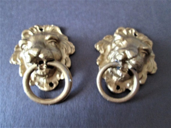 2 Shiny Gold Painted Heavy Cast Metal Reproduction Lion Head Clock Case/Furniture Ornaments Stk#558