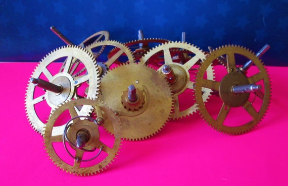 10 Large Solid Brass and Steel Antique Clock Wheels with Assorted Parts Attached for your Clock Projects - Steampunk Art - Stk# 402