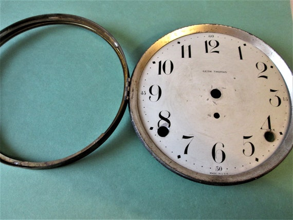 "5 3/8"" Old Seth Thomas Clock Dial with Solid Brass Bezel - No Glass -for your Clock Projects - Steampunk Art & Etc..Stk#428"