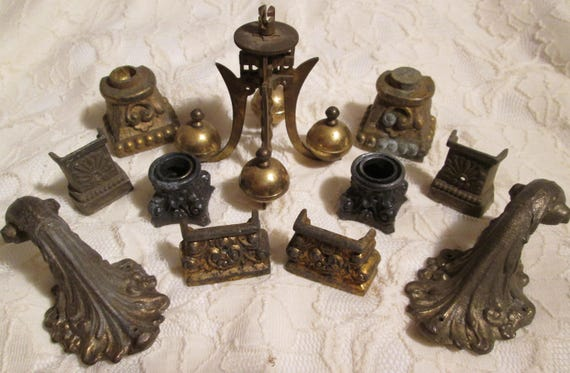 Nice Lot of Original Antique Mantle Clock Feet, Anniversary Clock Pendulum, and Fancy Wall Hooks for your Creative Projects, Steampunk Art