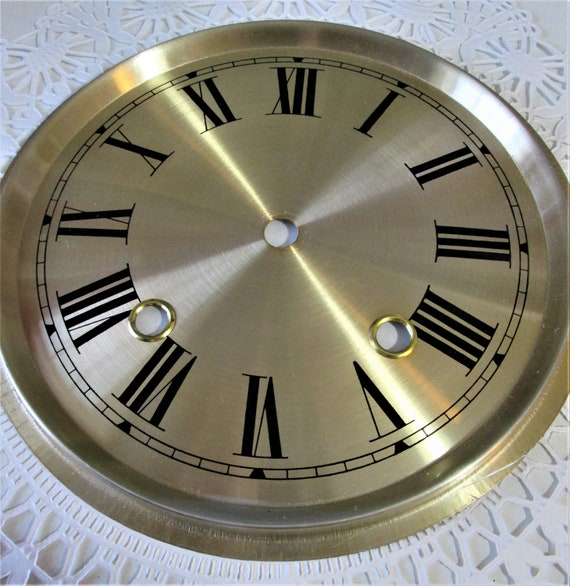 """7 1/2"""" New Pale Brass Colored Aluminum Clock Dial with 7/8"""" Roman Numerals Stk#101"""