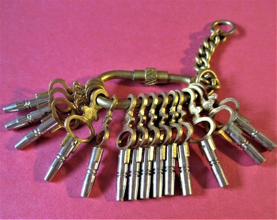 Set of 14 New Pocket Watch Keys Sizes 00-12 Stock - Brass and Steel