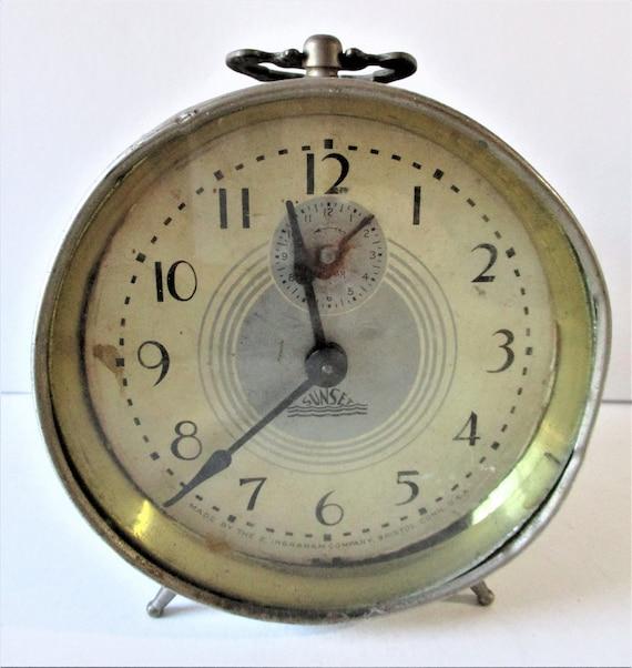 """Antique E. Ingraham Alarm Clock for Repair/Parts 4 1/2"""" x 4 1/2"""""""