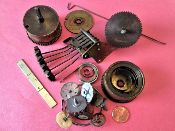 Assorted Old Clock Parts for your Antique & Vintage Clocks Steampunk Art, And Etc..Stk#292