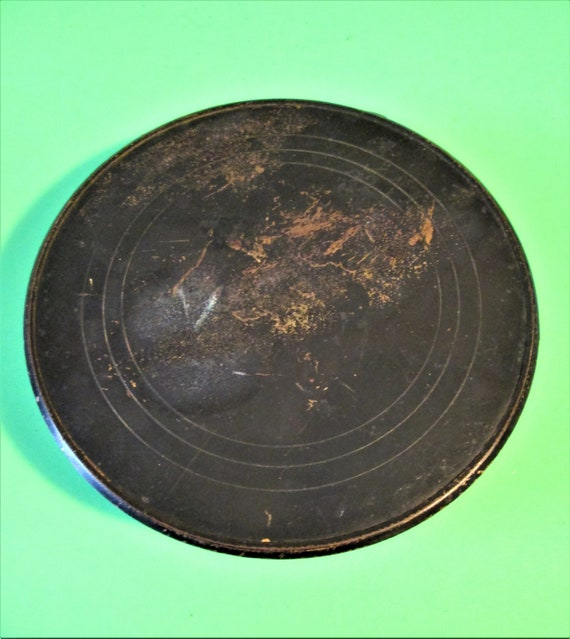 "Old and Worn Black Painted Solid Brass 4 1/2"" Wide Clock Cover Bezel and Pan for your Clock Projects, Steampunk Art"