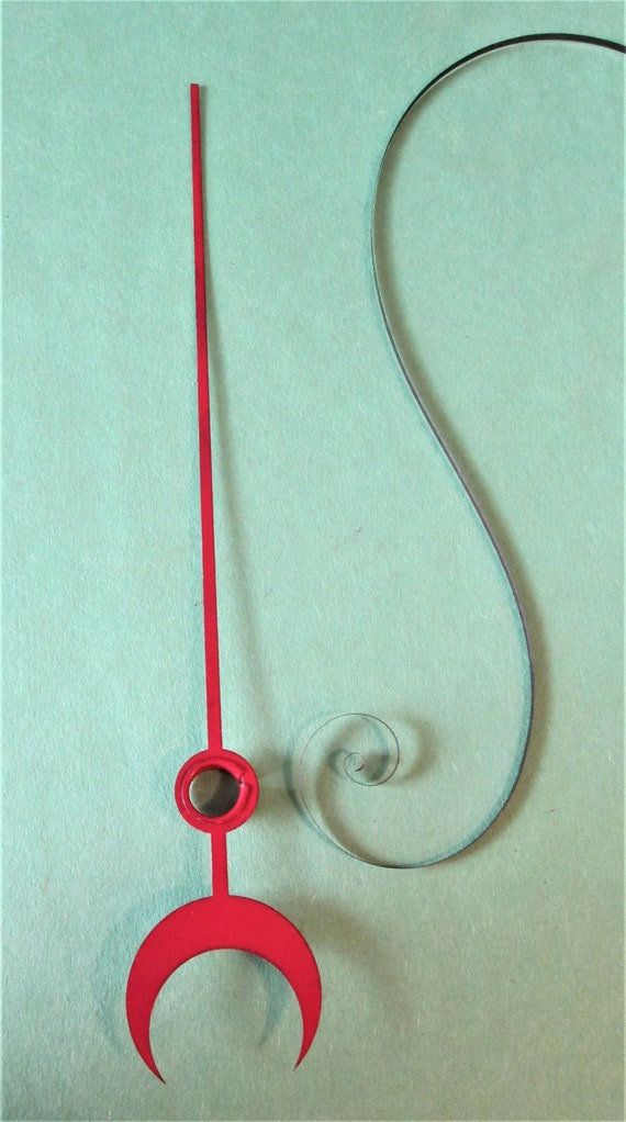 "1  7 1/2"" Vintage Red Painted Steel Calendar Clock Second Hand for your Clock Projects and Etc.."