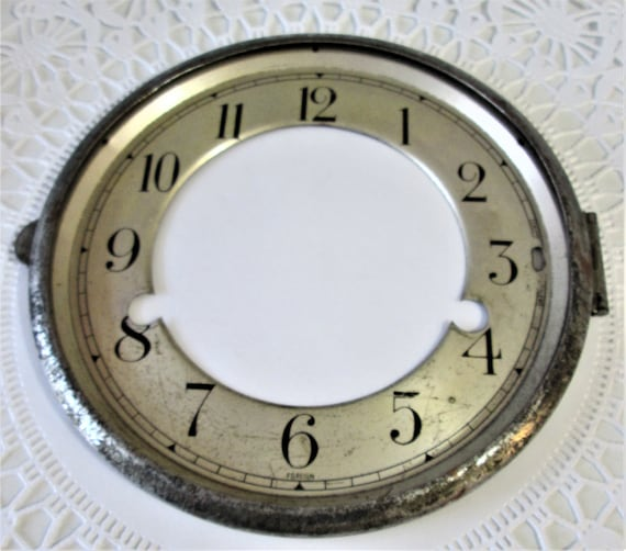 """6 1/4"""" Wide Vintage Tin Clock Dial  with Bezel Stk#84"""