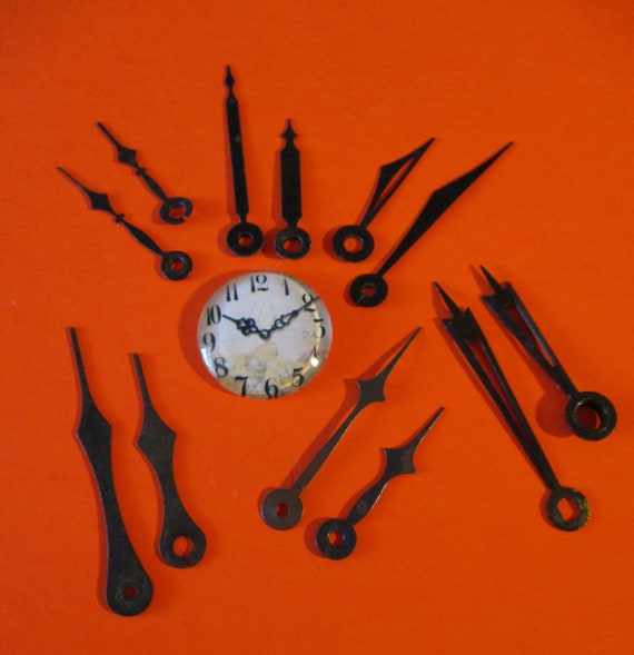 6 Pairs of Assorted Vintage Black Steel Clock Hands for your Clock Projects - Art - Stk# 739