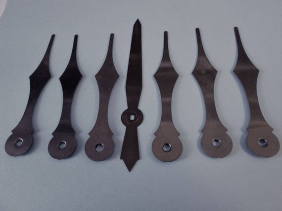 "7 Large 4 1/5"" Vintage Steel Clock Hands for your Clock Projects  - Jewelry Making - Steampunk Art"