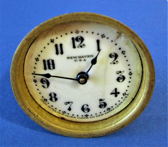 """Small 2 3/8"""" Antique New Haven Partial Clock for Repair/Parts Stk#136"""