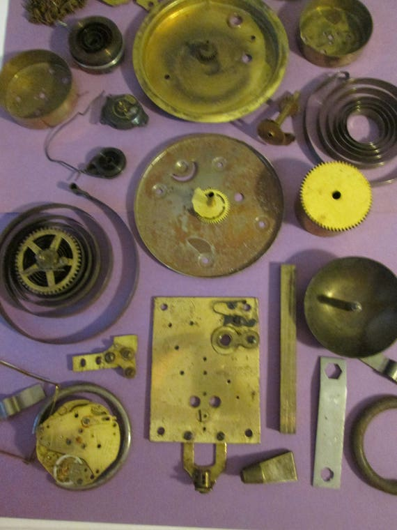30 Piece Lot of Assorted Antique Clock Parts & Hardware for your Clock Projects, Steampunk Art, Metalworking