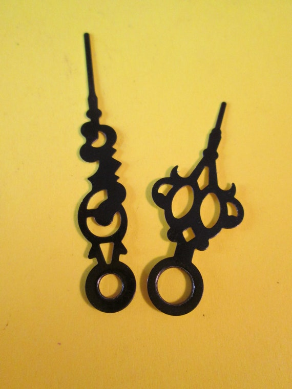 1 Pair of Small Vintage Gothic/Serpentine Design Black Painted Aluminum Clock Hands for your Clock Projects - Jewelry Making - Steampunk Art