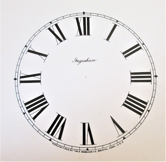 """4 3/4"""" Vintage Heavy Paper Ingraham Clock Co. Off White Colored Dial for your Clock Projects and Etc. Stk#D5"""