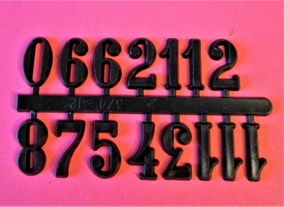 """1 Set of 3/4"""" Black Plastic Numbers for your Clock Projects, Scrap Booking, Steampunk Art Stock#1"""
