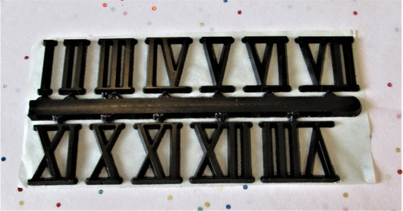 """1 Set of 3/4"""" Black Plastic Roman Numeral Press on Numbers for your Clock Projects, Scrap Booking, Steampunk Art Stock#48"""